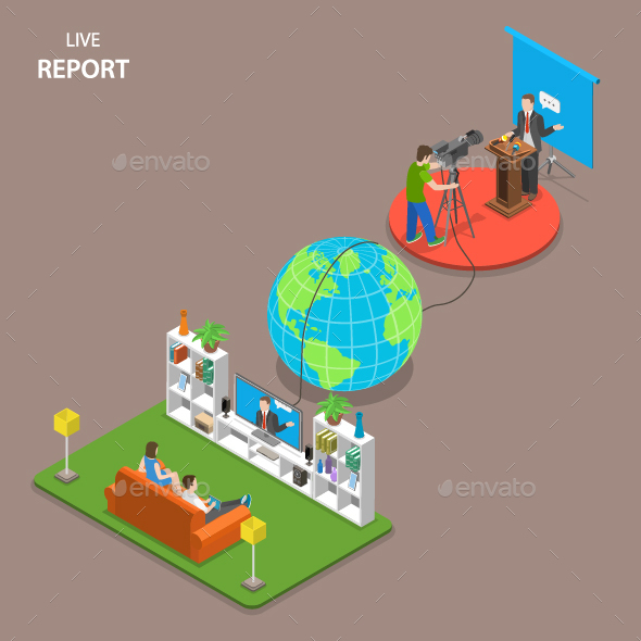 Live Report Isometric Flat Concept - Web Technology