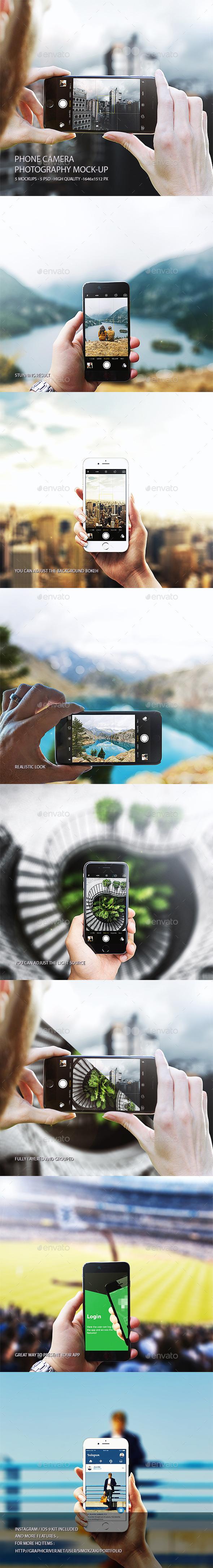 Phone camera photography mockup - Mobile Displays
