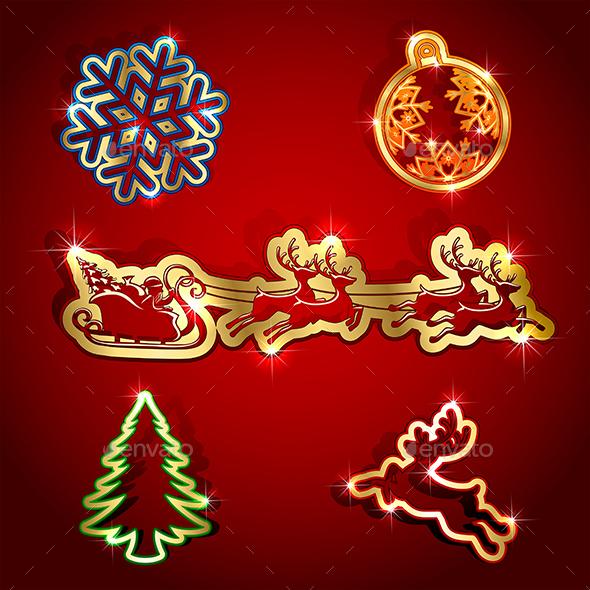 Paper Christmas Icons - Christmas Seasons/Holidays