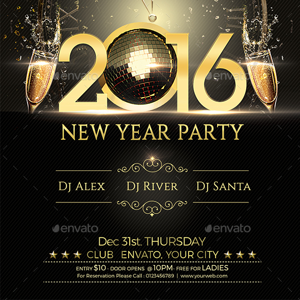 New year party flyer by creativevalues graphicriver for Terrace new year party