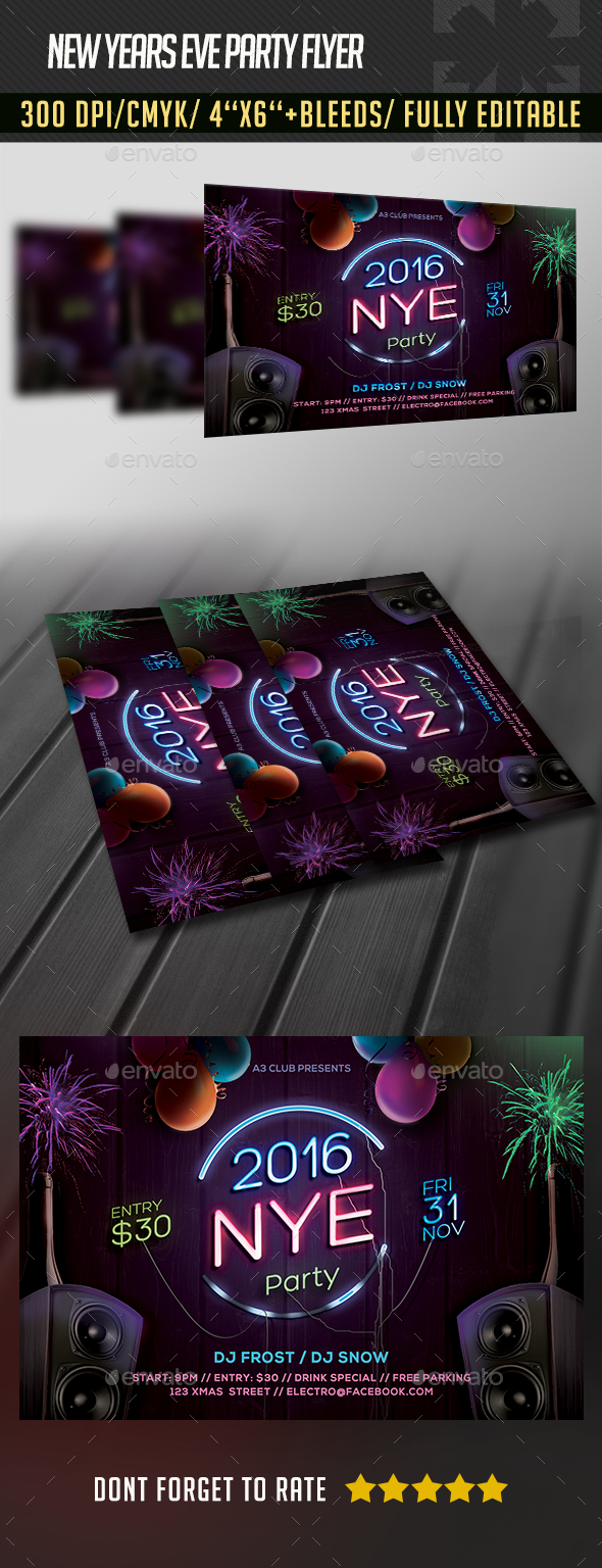 New Years Eve Neon Flyer - Clubs & Parties Events