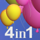 Colorful Balloons Transitions (4-Pack) - VideoHive Item for Sale