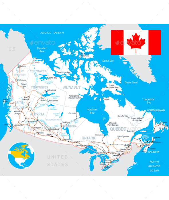 Canada Map, Flag and Roads Illustration - Travel Conceptual
