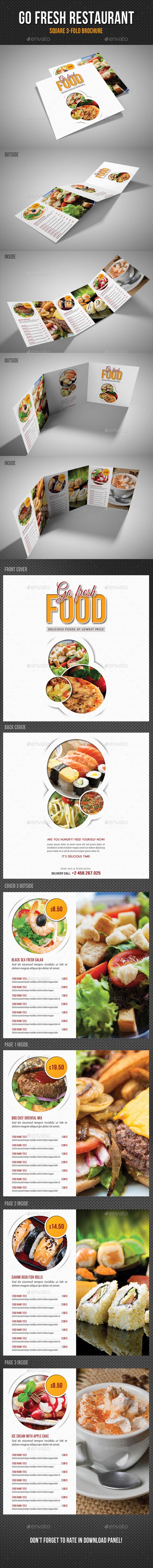 Go Fresh Restaurant Food Square 3-Fold Brochure - Food Menus Print Templates