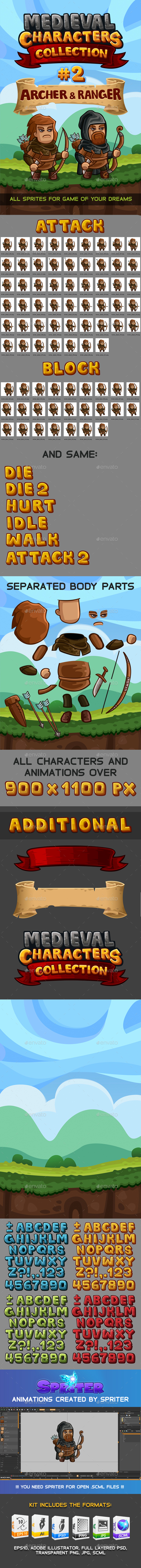 Medieval Game Sprites Characters Collection #2 - Sprites Game Assets