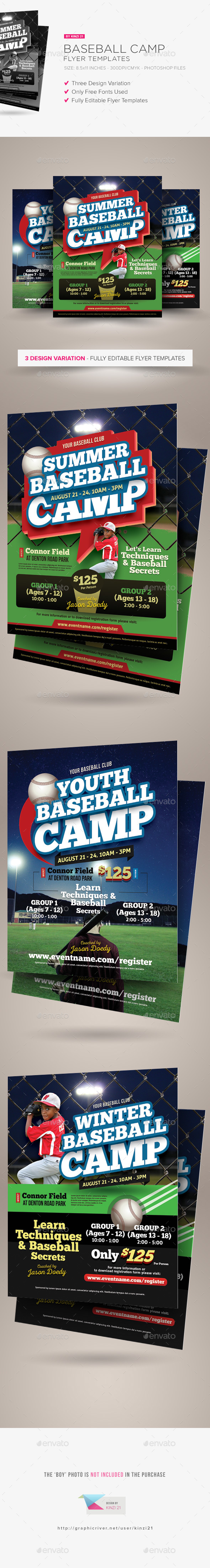 Baseball Camp Flyer Templates - Sports Events