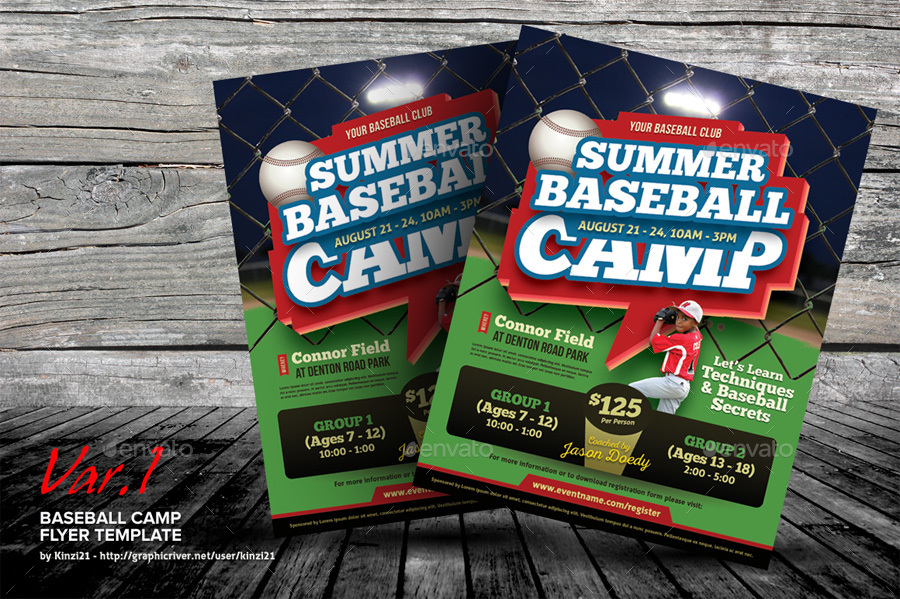 Baseball Camp Flyer Templates By Kinzi  Graphicriver