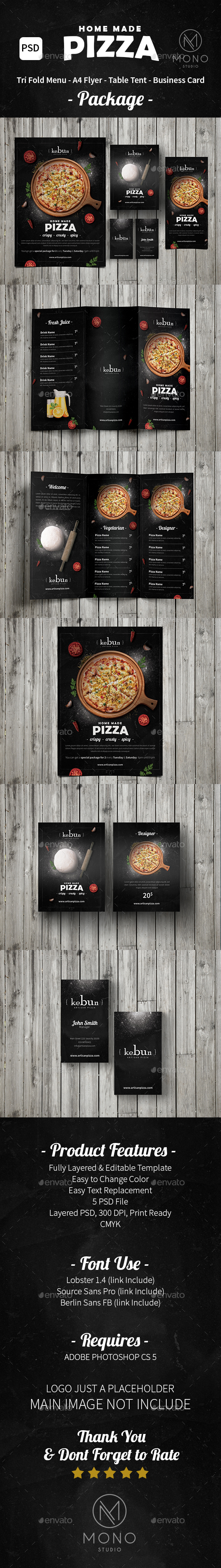 Pizza Menu Set/Rustic - Food Menus Print Templates
