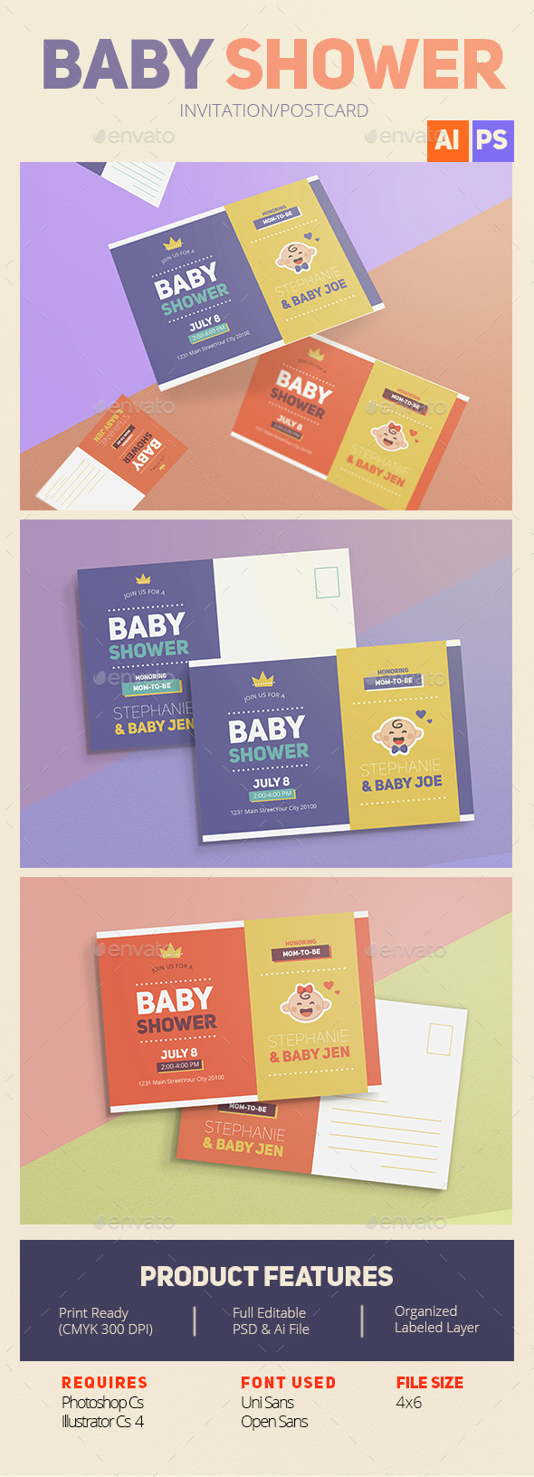 Baby shower invitation/card - Cards & Invites Print Templates