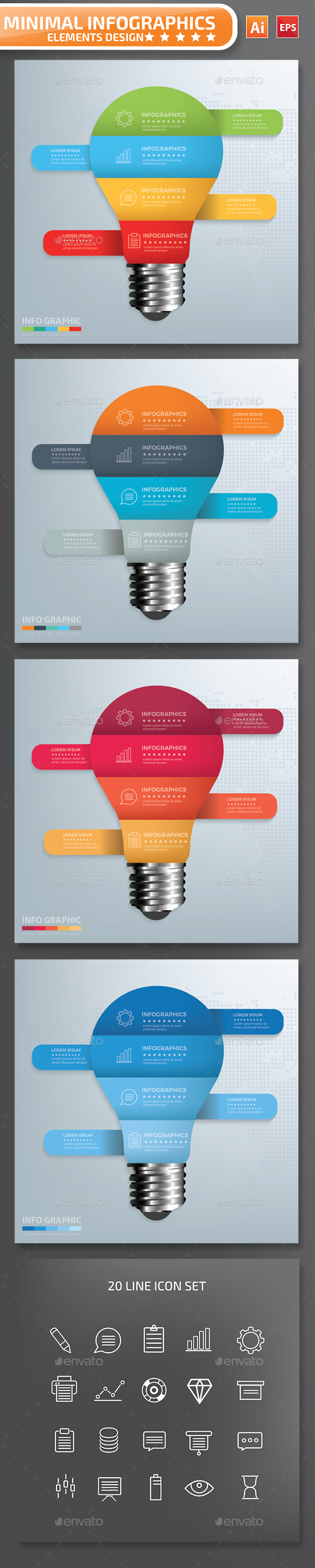 Minimal Light bulb Infographics Design 01 - Infographics