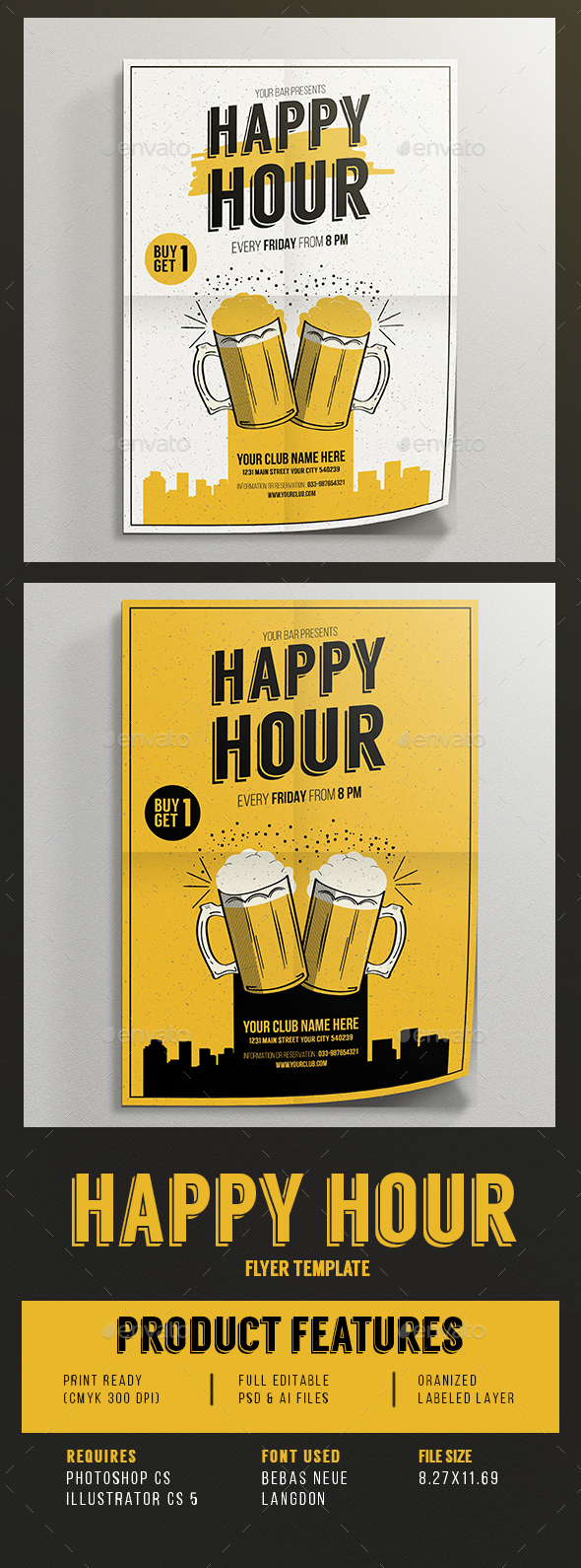 Happy Hour beer promotion flyer - Events Flyers