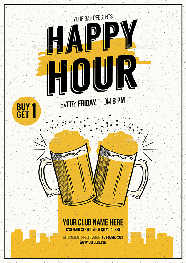 Happy Hour Beer Promotion Flyer By Guuver Graphicriver