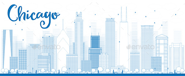 Outline Chicago City Skyline with Blue Skyscrapers - Buildings Objects