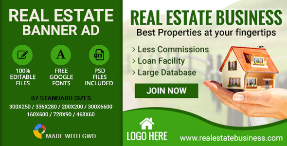 GWD | Real Estate Banners - 7 Sizes nulled free download