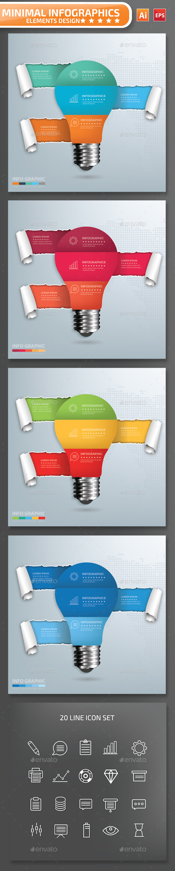 Minimal Light Bulb Infographics Design Part2 - Infographics