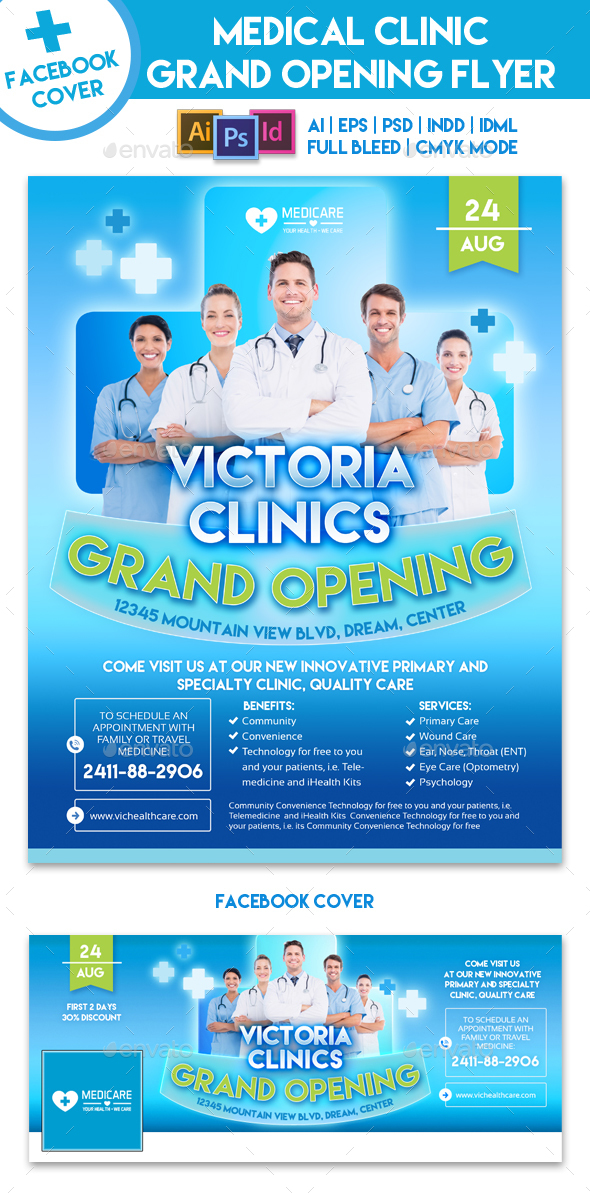 Medical Clinic Grand Opening Flyer Template By Emty | Graphicriver