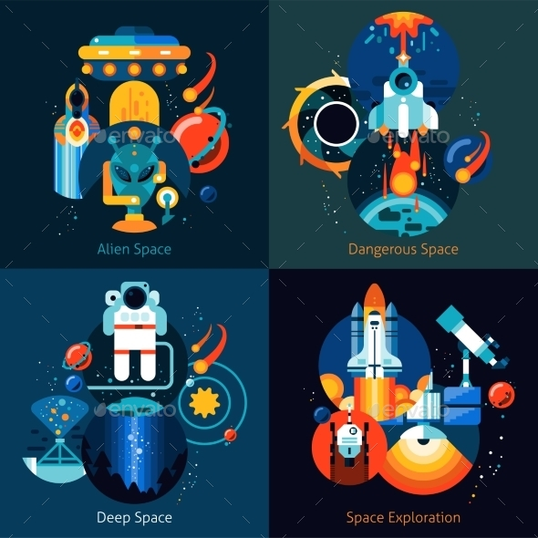 Space Flat Set - Travel Conceptual
