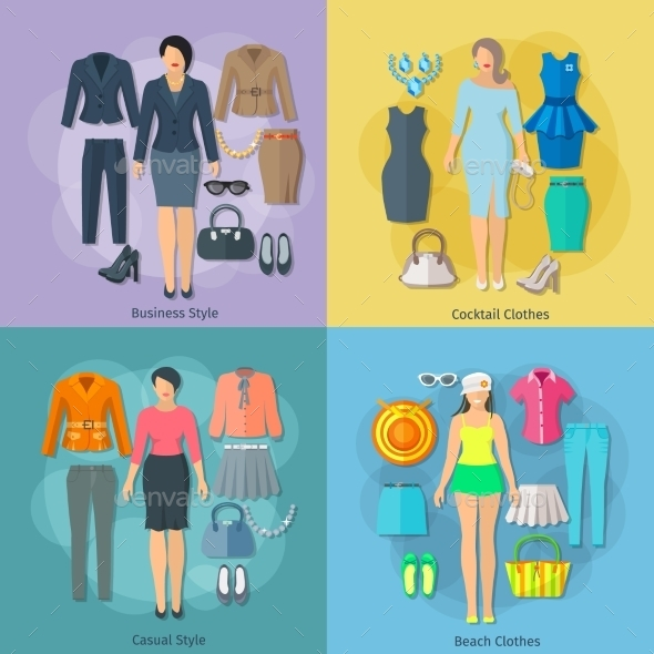 Woman Clothes  Square Concept Icons Set - Retail Commercial / Shopping