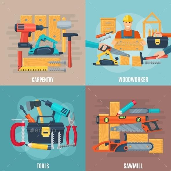 Carpentry Design Concept Set - Decorative Symbols Decorative