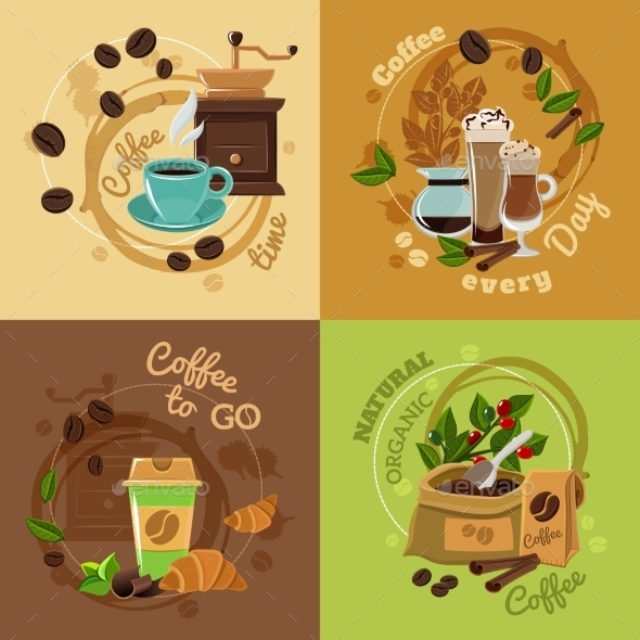 Coffee Concept 4 Flat Icons Square - Food Objects
