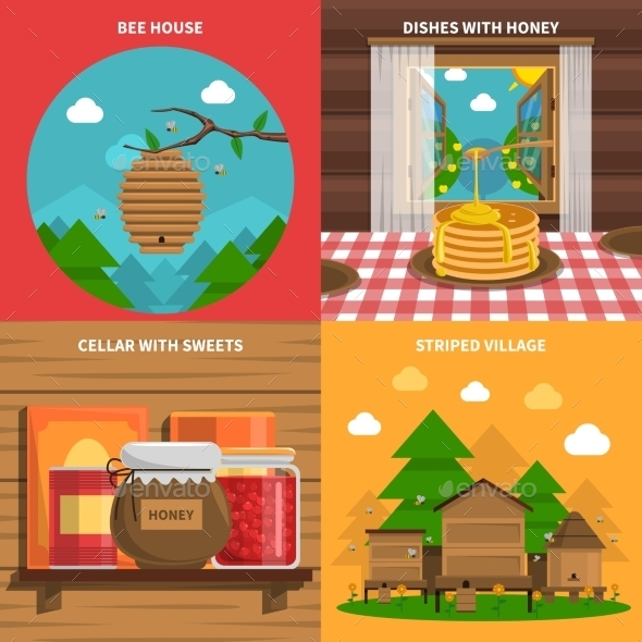 Honey Concept Icons Set - Food Objects