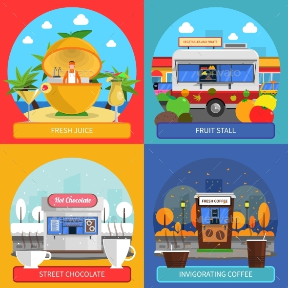 Street Food Concept Icons Set  - Retail Commercial / Shopping