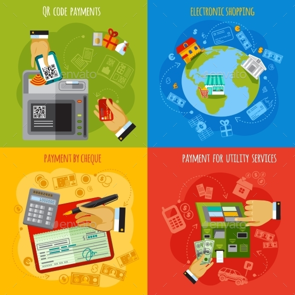 Payment Methods 4 Flat Icons Square - Services Commercial / Shopping
