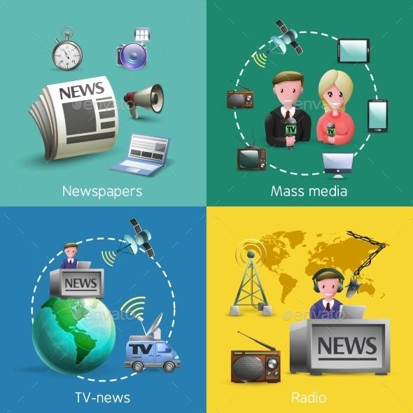 Mass Media Images Set - Communications Technology