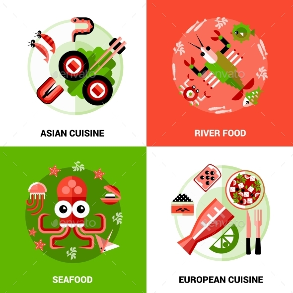 Seafood Design Concept - Food Objects
