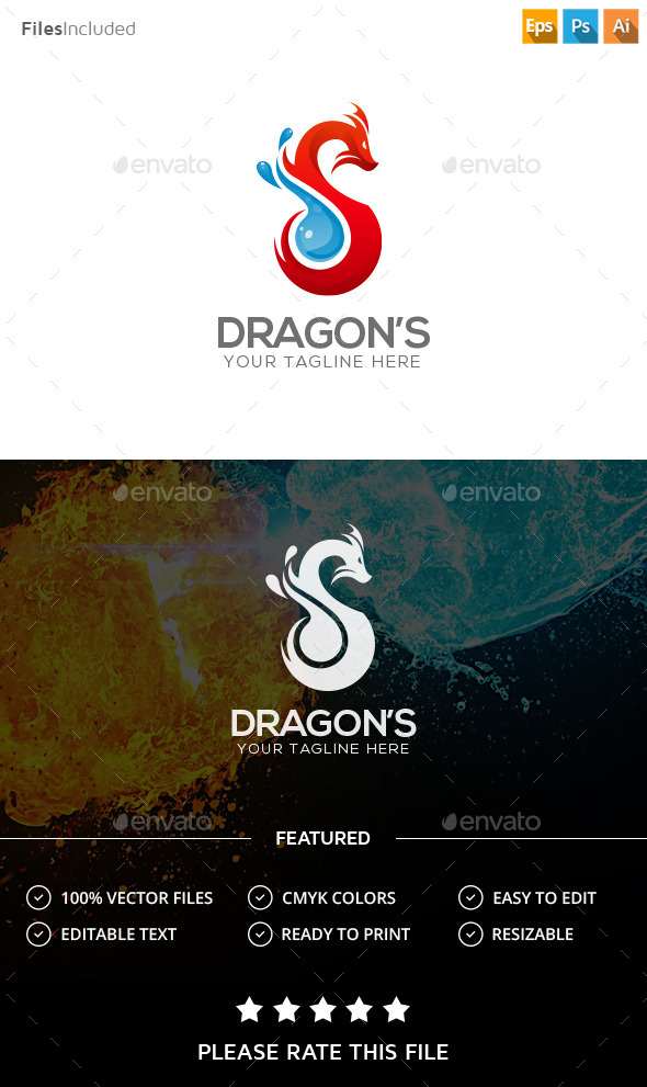 Dragon Logo - Vector Abstract