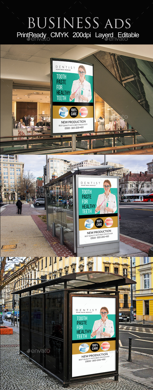 Medical Dental Care Bus Stop Ad Template - Signage Print Templates