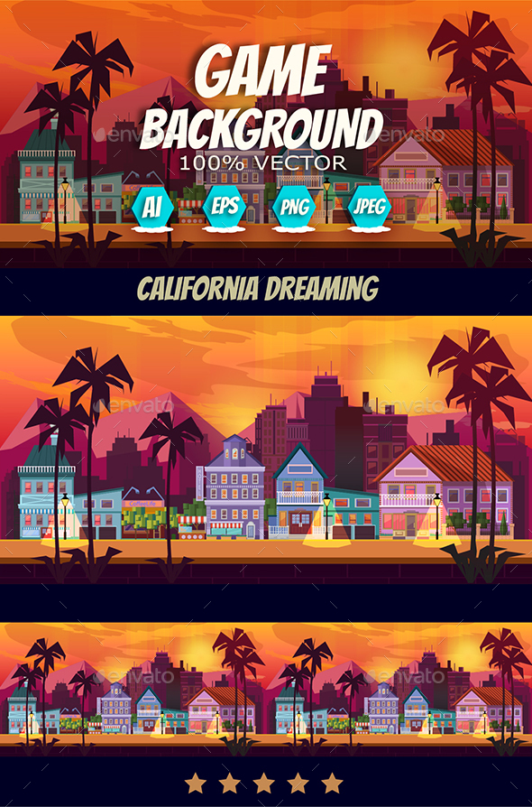 California Dreaming Game Background Vector Panorama - Backgrounds Game Assets