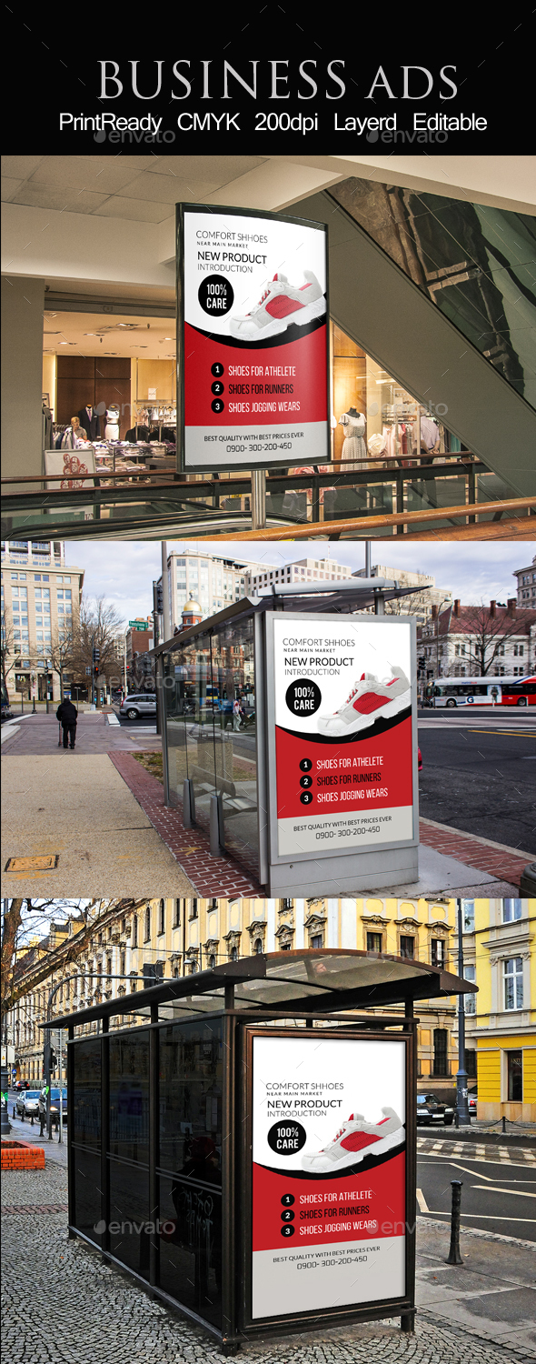 Shoes Discount Bus Stop Banner Ad Template - Signage Print Templates