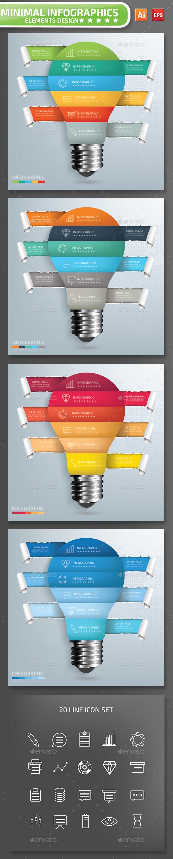 Minimal Light bulb Infographics Design Part 3 - Infographics