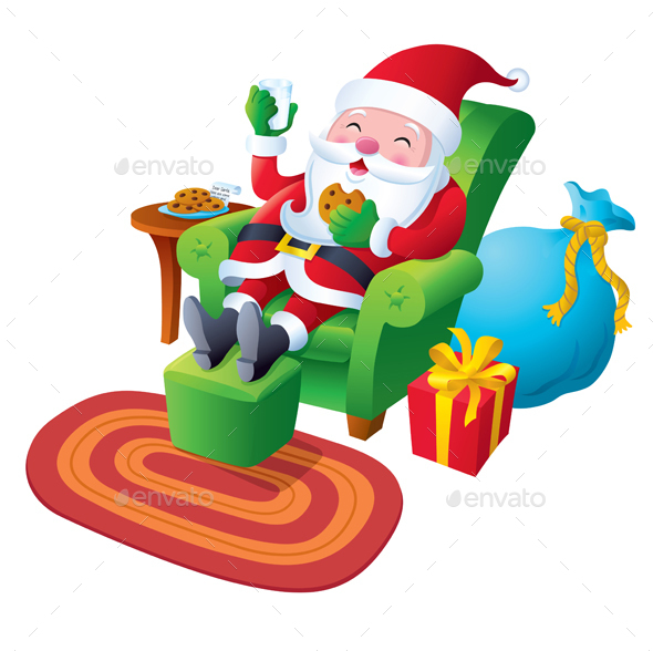 Santa Relaxing with Cookies and Milk - Christmas Seasons/Holidays