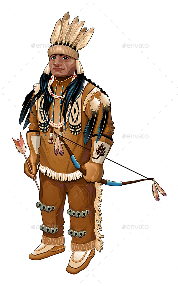 Native American with Bow and Arrow - People Characters