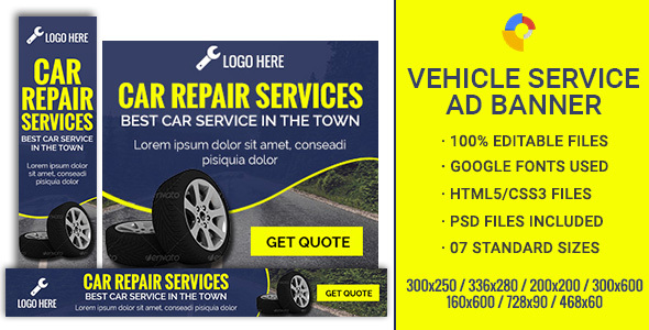GWD | Car Repair & Service Banners - 7 Sizes - CodeCanyon Item for Sale
