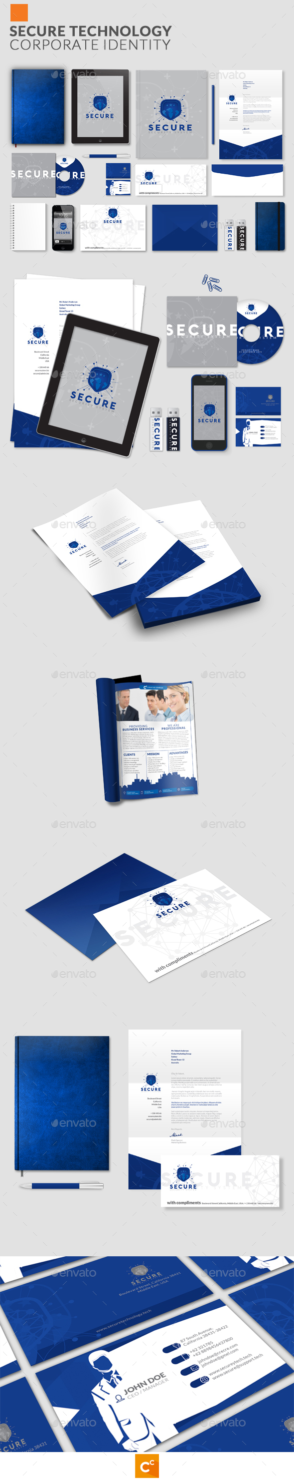 Secure Technology Corporate Identity - Stationery Print Templates