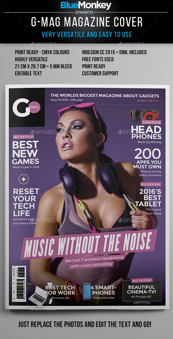 G-Mag Magazine Cover Template - Magazines Print Templates