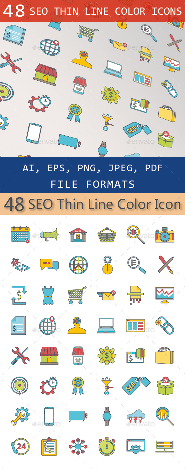 SEO Thin Line Color Icons - Business Icons