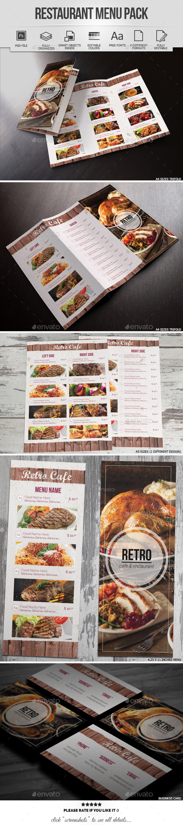 Restaurant & Cafe Menu Pack - Food Menus Print Templates