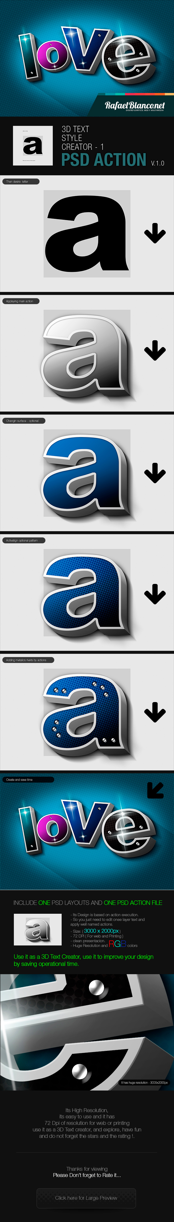 3D Text Styling by Actions - 1 - Actions Photoshop