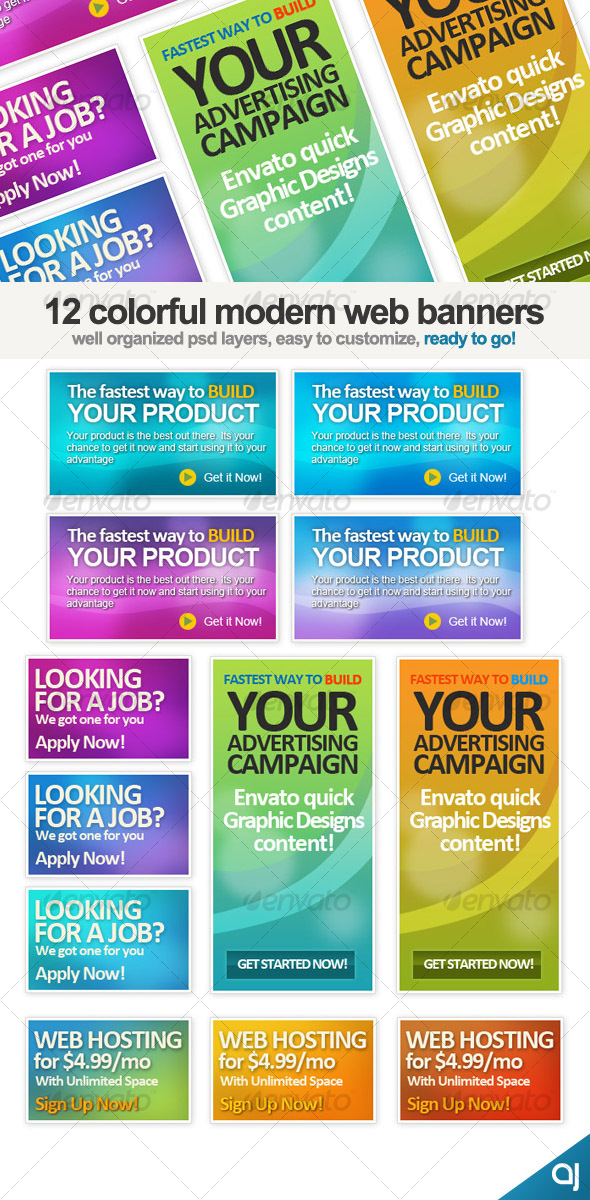 12 Different Web banners set - Web Elements