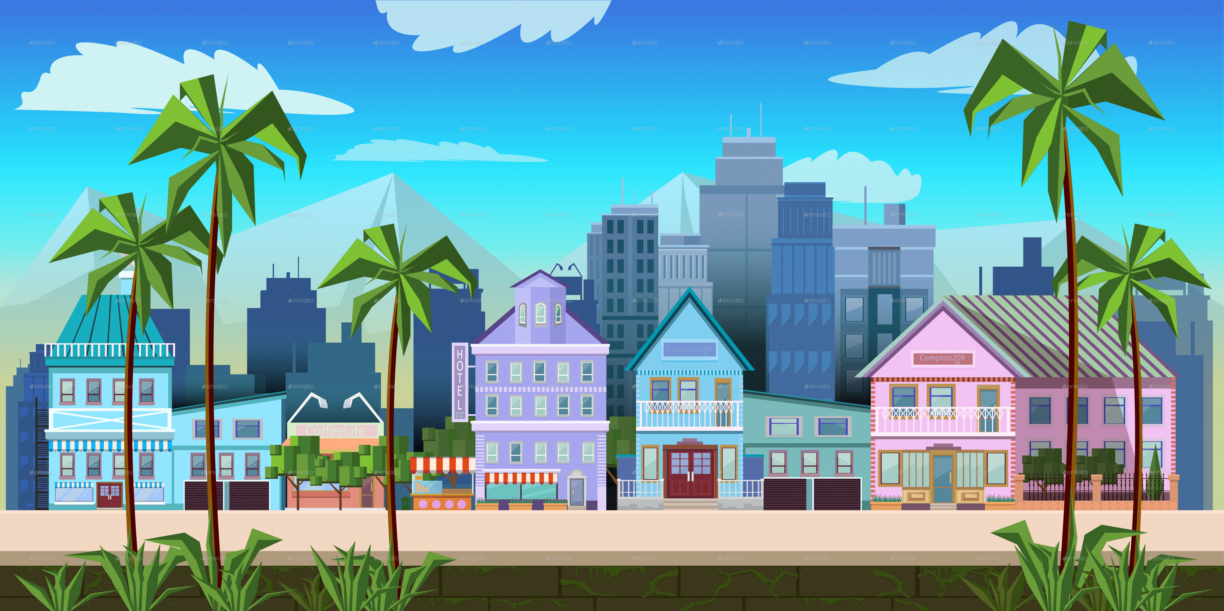 Town Landscape Vector Illustration: Sunny California City Game Background Vector By