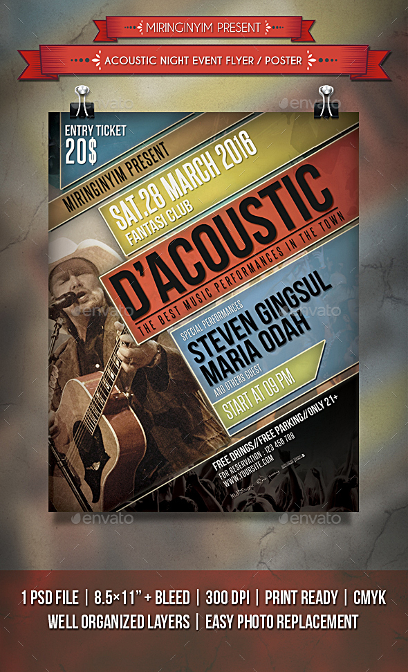 Acoustic Night Event Flyer / Poster - Events Flyers