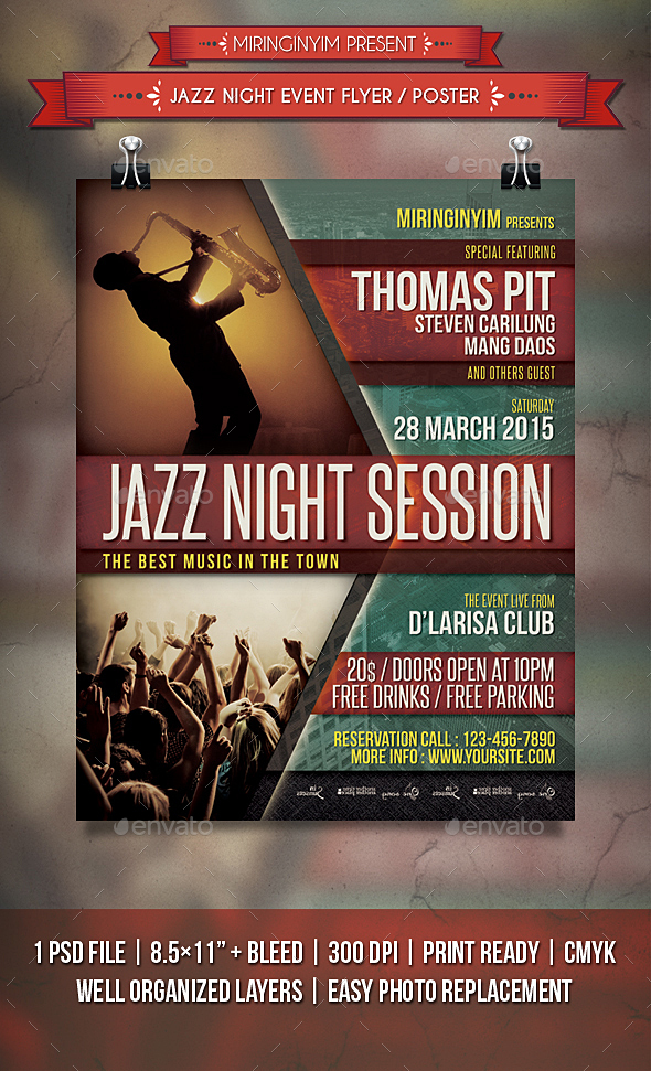 Jazz Night Event Flyer / Poster - Events Flyers