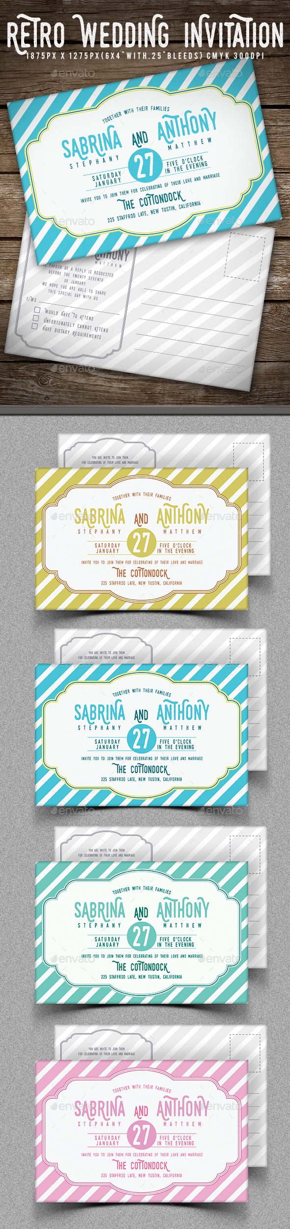Retro Wedding Invitation - Invitations Cards & Invites