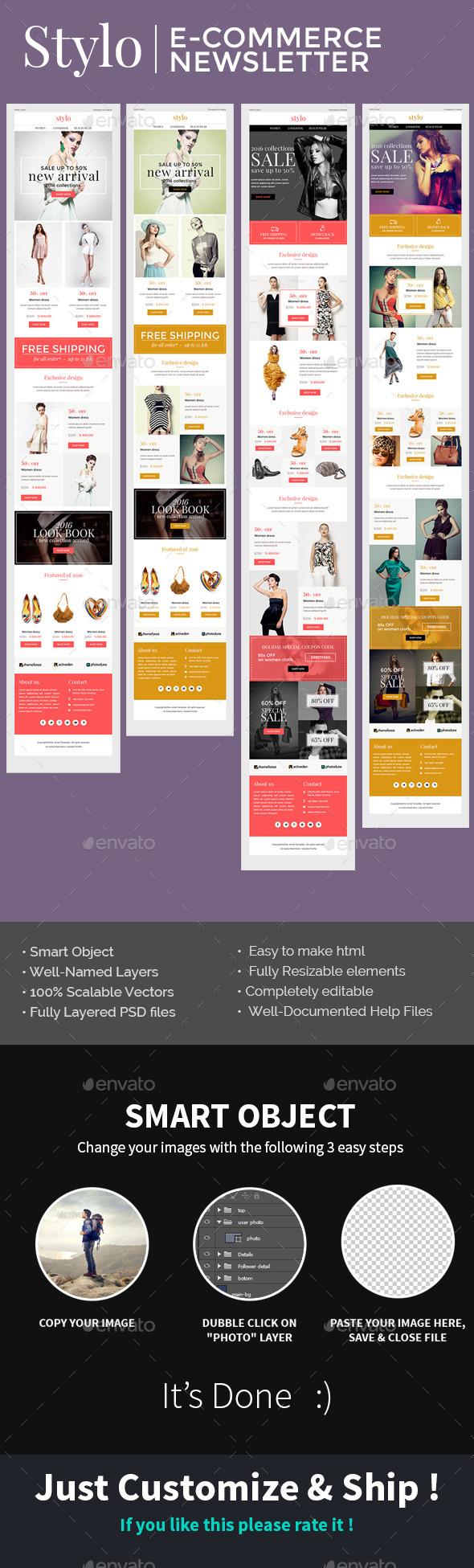 Stylo E-commerce-E-Newsletter PSD Template - E-newsletters Web Elements