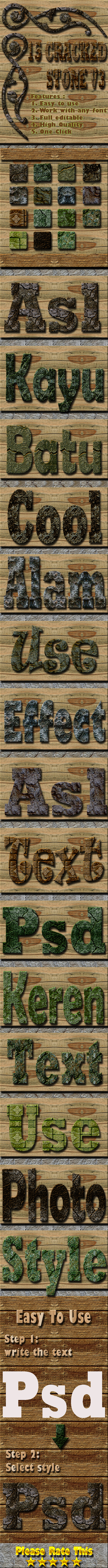 15 Cracked Stone Text Effect Style Vol 3 - Styles Photoshop