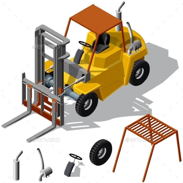 Forklift Loader Shadowed - Industries Business
